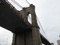 The Brooklyn Bridge up above.