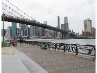 View of the Brooklyn Bridge from the promenade at Empire-Fulton Ferry Park (where the carousel is located).