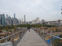The Brooklyn Bridge and the Manhattan Skyline, as seen from the walkway that starts at Squibb Park, at the water's end of Middagh Street.