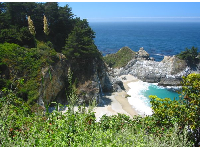 The beach and waterfall at Julia Pfeiffer Burns state Park.