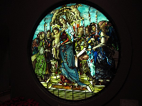 Stained glass of the Virgin, by Tiffany.