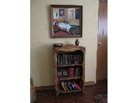 Bookcase, earthen vase, and painting of his room, in his room.