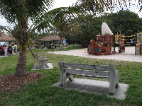 Benches by the playground.