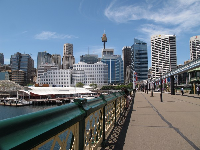 View of Sydney tower and skyscrapers from the pedestrian-only Pyrmont Bridge.