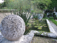 Lily pond and staircase sculpted from coral rock.