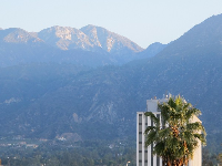 The San Gabriel mountains are gorgeous behind Old Town Pasadena.