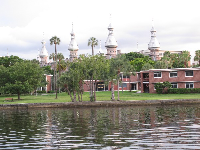The lovely architecture of the University of Tampa, as seen from Curtis Hixon Park.