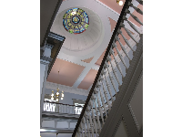 The grand staircase and stained glass dome in the Florida Historic Capitol Museum.