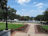 The grounds of the old capitol building, looking out toward Apalachee Parkway.