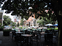Outdoor seating at Andrew's Capital Grill and Bar on Adams Street.