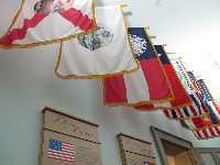 Flags in an exhibit at the Florida Historic Capitol Museum.