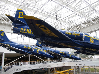 Blue Angels planes hanging from the ceiling.