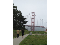 Walking along with views of the Golden Gate Bridge!
