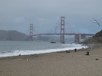 Beachgoer taking a photo of the Golden Gate Bridge.