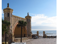 The castle-like bandshell at Daytona Beach on the boardwalk.