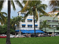 Shore-Park Hotel, with its royal blue awnings.