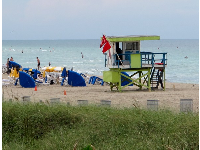 Looking north along the beach- another colorful lifeguard shack!