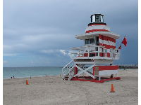 New England-style lifeguard shack, as seen from the boardwalk near South Pointe Park.