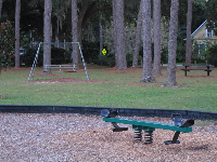 See-saw with bench swing behind.