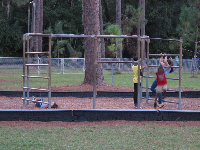 Kids hanging out at the monkey bars.