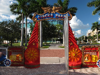 Circus Park gate, with downtown office buildings behind.