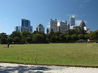 Sports field with lovely view of the city skyline!