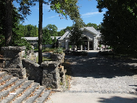 Stone steps leading from sports field to Greystone.