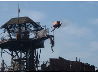 Incredible stunts in the Waterworld show.