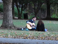 A man serenades a lady under a tree.