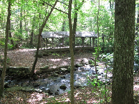 Shaded picnic area near the stream at the lower end of the falls.