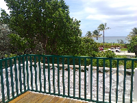 View of the beach from the upstairs balcony.