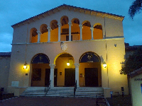 The theater and dance building with its archways.