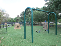 Swings, rocks to climb, and space age playground.