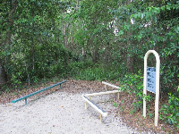 Exercise station in the forest.