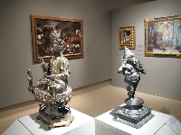 Sculptures and paintings in Cornell Fine Arts Museum.