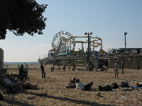 Beach Volleyball on a Sunday afternoon, beside Santa Monica pier!