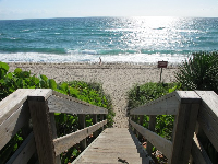 The stairs that lead down to the beach.