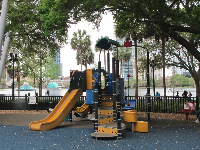 The toddler area of the playground, with lake views.