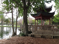 Swan and Korean gazebo.