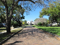 Looking along Park Lake Court towards the Spanish house.
