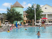 Kids like the shallow entry to the pool at Saratoga Springs Resort.