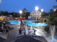 Nighttime at the main pool at Saratoga Springs Resort.