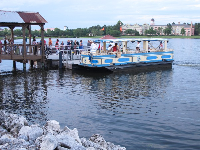 Ferryboat from hotel to Disney Springs waterfront restaurants.