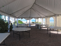 Wedding tent with ocean view.