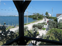 View of intracoastal, road, and ocean from back balcony.