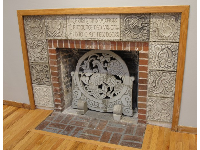 Engraved fireplace in the museum.