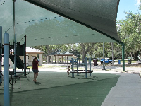 Playground with huge shade canopy.