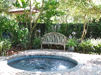 Reflection Garden with its whirlpool fountain.