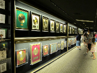 Just one of many walls displaying awards won by Elvis.