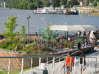 The splash pad and playground, with steamboat in the distance.